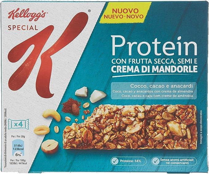 Kelloggs Barritas Special K Proteínas Chocolate, Coco and Anacardo - 2 Paquetes de 4 barritas - Total: 896 gr