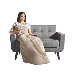 Sunbeam Heated Throw Blanket | Dual Pocket Microplush, 3 Heat Settings, Oatmeal