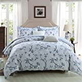 GOOFUN-D3K 3pcs Duvet Cover Set 1 Duvet Cover and 2 Pillow Shams Lightweight Polyester Microfiber Comfortable, Breathable, Soft , Extremely Durable,King Size, Light Grey with White Flower