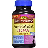 Nature Made PrenatalMulti + DHA 200 Mg Softgels, Value Size, 60 + 30 Liquid softgels (Pack of 2)