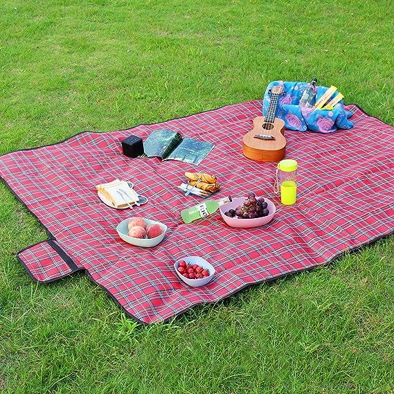 Sekey Picnic Manta, Césped plegable, portátil, impermeable, con mango de soporte, Rojo, 200 x 150 cm: Amazon.es: Jardín