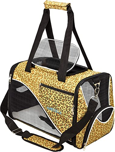 Katziela Pet Carrier – Soft Sided, Airline Approved Carrying Bag for Small Dogs and Cats, Front, Side and Top Mesh Ventilation Windows, Storage Pocket and Safety Leash Hook