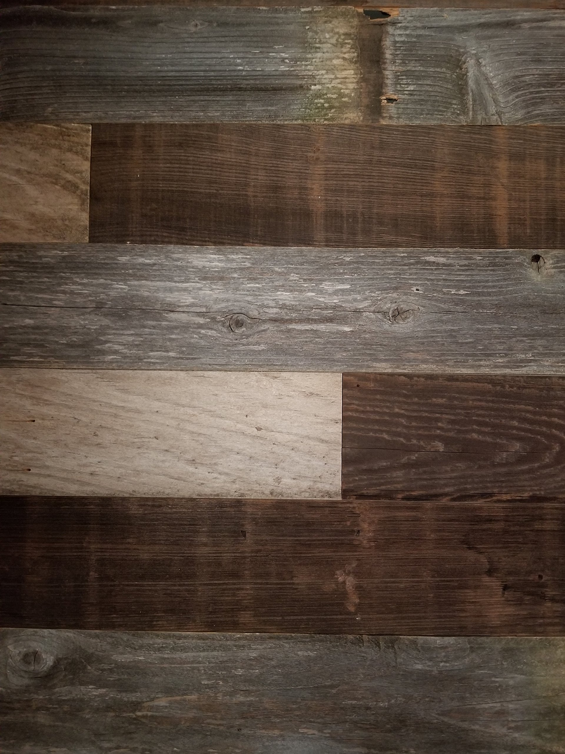DIY Peel and Stick Reclaimed Barn Wood Wall Planks, Easy Installation, 100 sq. ft.