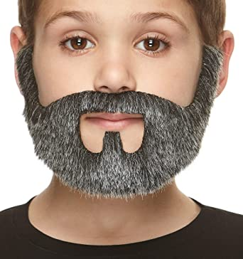 Mustaches Self Adhesive Gray with White Color On Bail Fake Beard Costume Accessory for Adults Novelty False Facial Hair