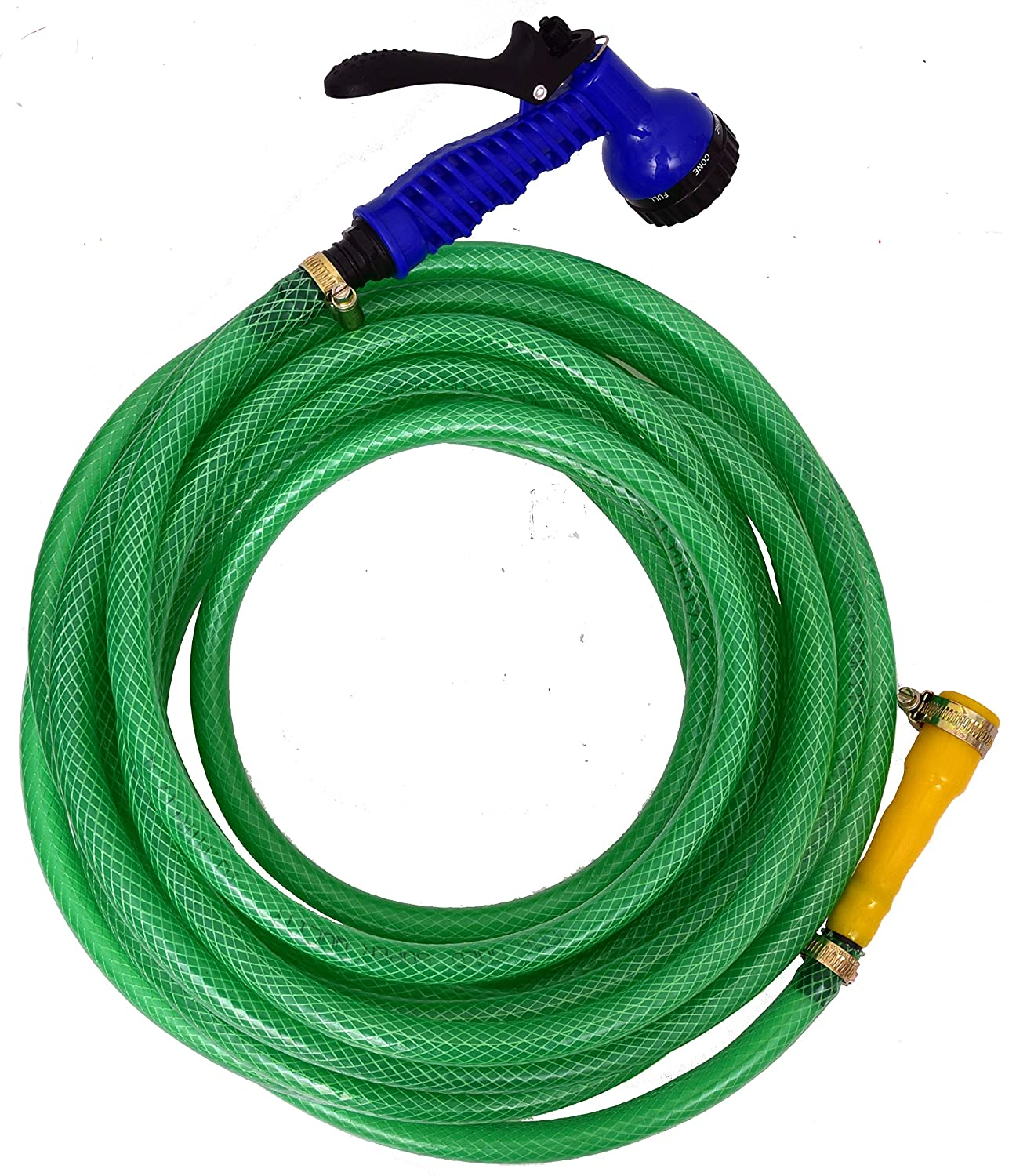 """Dripit™ Braided Garden Hose Pipe (1/2"""" Inch x 10 Meters) with 7-Pattern Rotating Nozzle Spray Gun"""