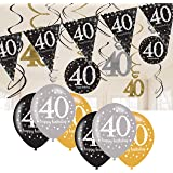 40th Birthday Decorations Black and Gold: 40th Birthday Bunting, Balloons, Hanging Decorations