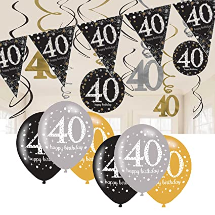 40th Birthday Decorations Black And Gold Bunting Balloons Hanging Amazoncouk Toys Games