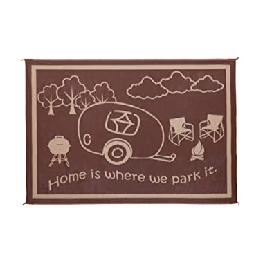 Stylish Camping Outdoor patio/RV Camping Mat - Home Mat (Brown/Beige, 8' x 18')
