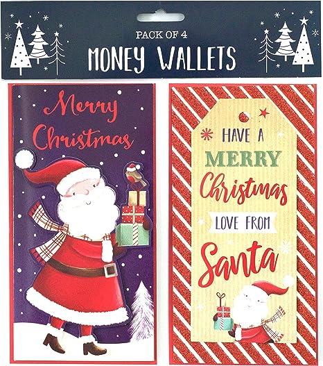 Lot de 4 cartes porte billet pour Noël avec enveloppes, design