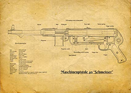 Amazon mp40 submachine gun blueprint old look yellow color mp40 submachine gun blueprint old look yellow color size 83 x 117 inch malvernweather Images