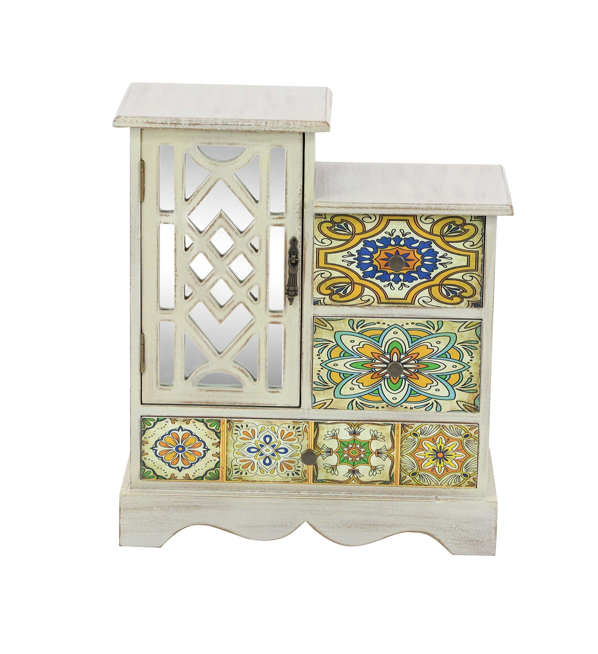 Deco 79 56699 Wooden Jewelry Chest, 15'' x 13'', White/Multi-Color/Black