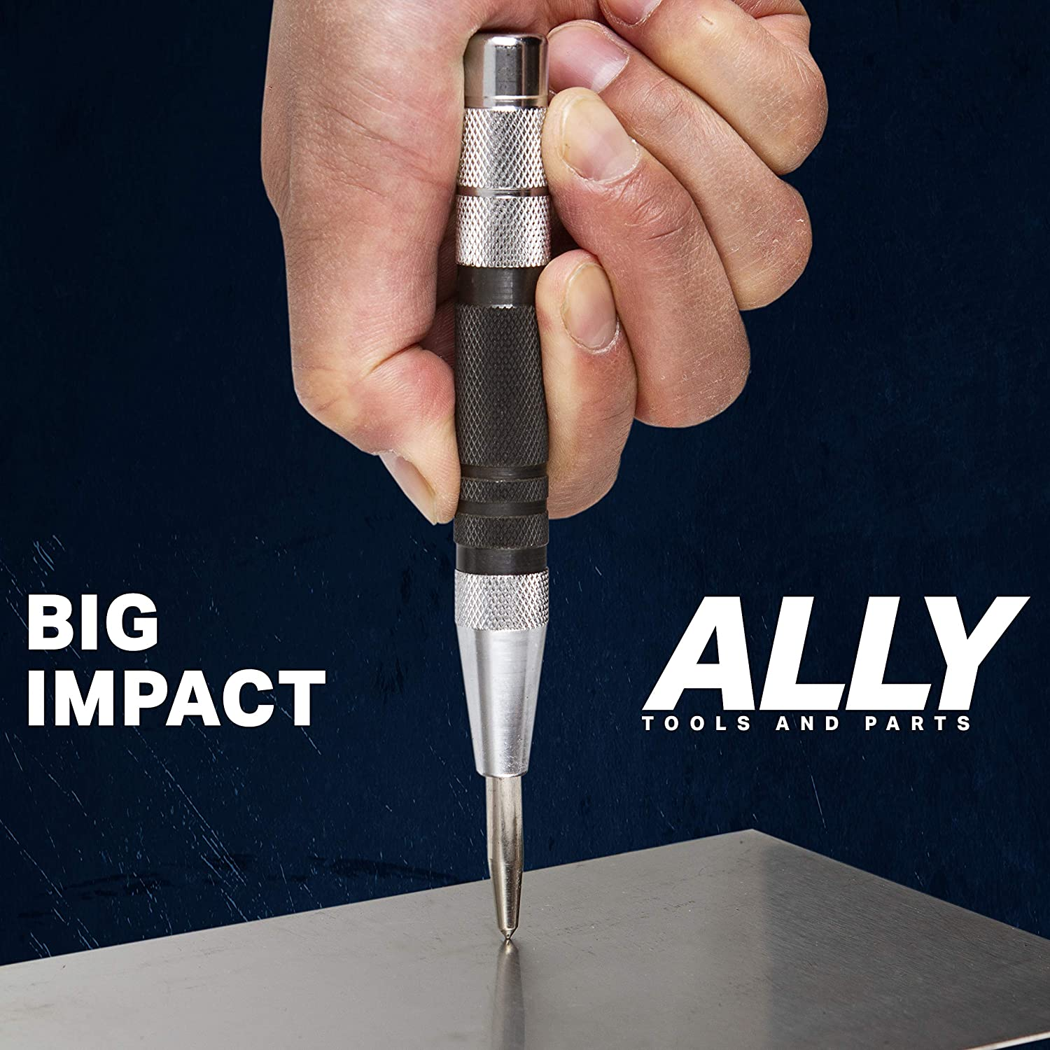ALLY Tools and Parts 3 PC SET of 6 Inch Heavy Duty Automatic Center Punch Set for Wood Glass Metal and Marble Plastic