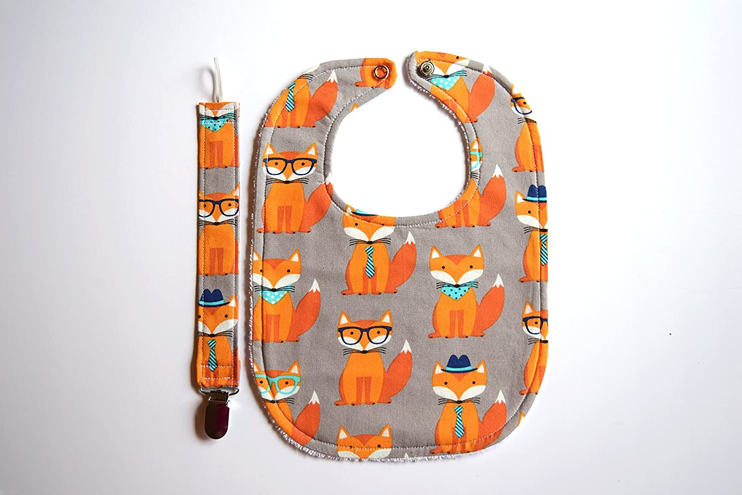 Baby Fox Bib with Baby Fox Pacifier Clip Nerd Fox GIft Set