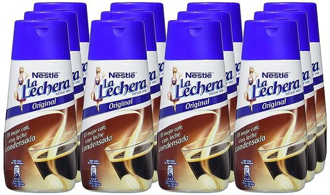 Nestlé La Lechera Leche condensada - Botella de leche condensada Sirve Fácil - Caja de 12 x 450 g