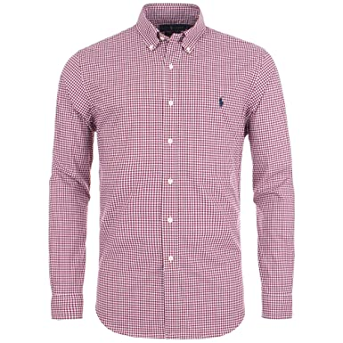 f8c92b83 Ralph Lauren Slim Fit Gingham Poplin Shirt X-Large RED: Amazon.co.uk:  Clothing