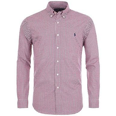 8289f9e7 Ralph Lauren Slim Fit Gingham Poplin Shirt X-Large RED: Amazon.co.uk:  Clothing