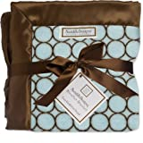 SwaddleDesigns Stroller Blanket, Cozy Micro Fleece Brown Mod Circles on Pastel Blue with Satin Trim