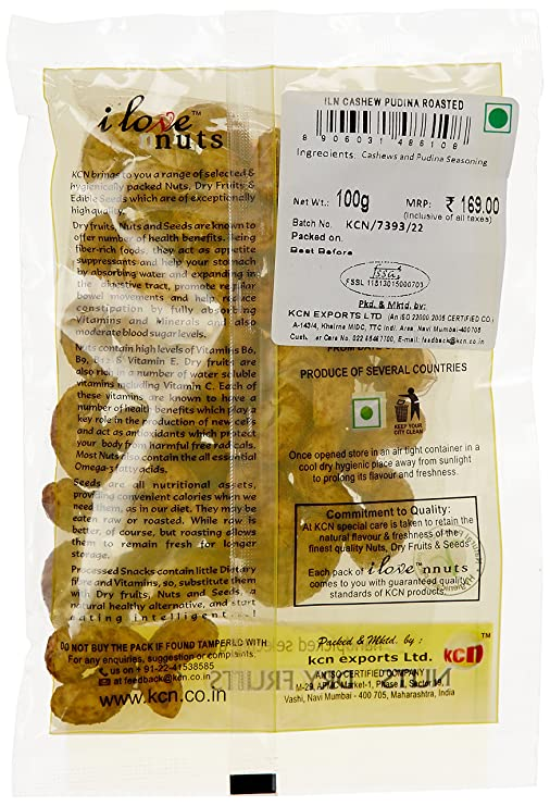 I Love Nuts Cashew Pudina Roasted, 100g