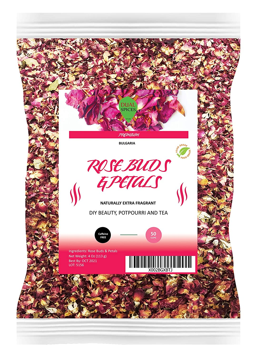Dualspices Rose Buds & Petals Tea 4 Oz - Food Grade Edible Fragrant Natural Healthy Best for Tea, Baking, Making Rose Water, Crafting Freshest Directly from BULGARIA