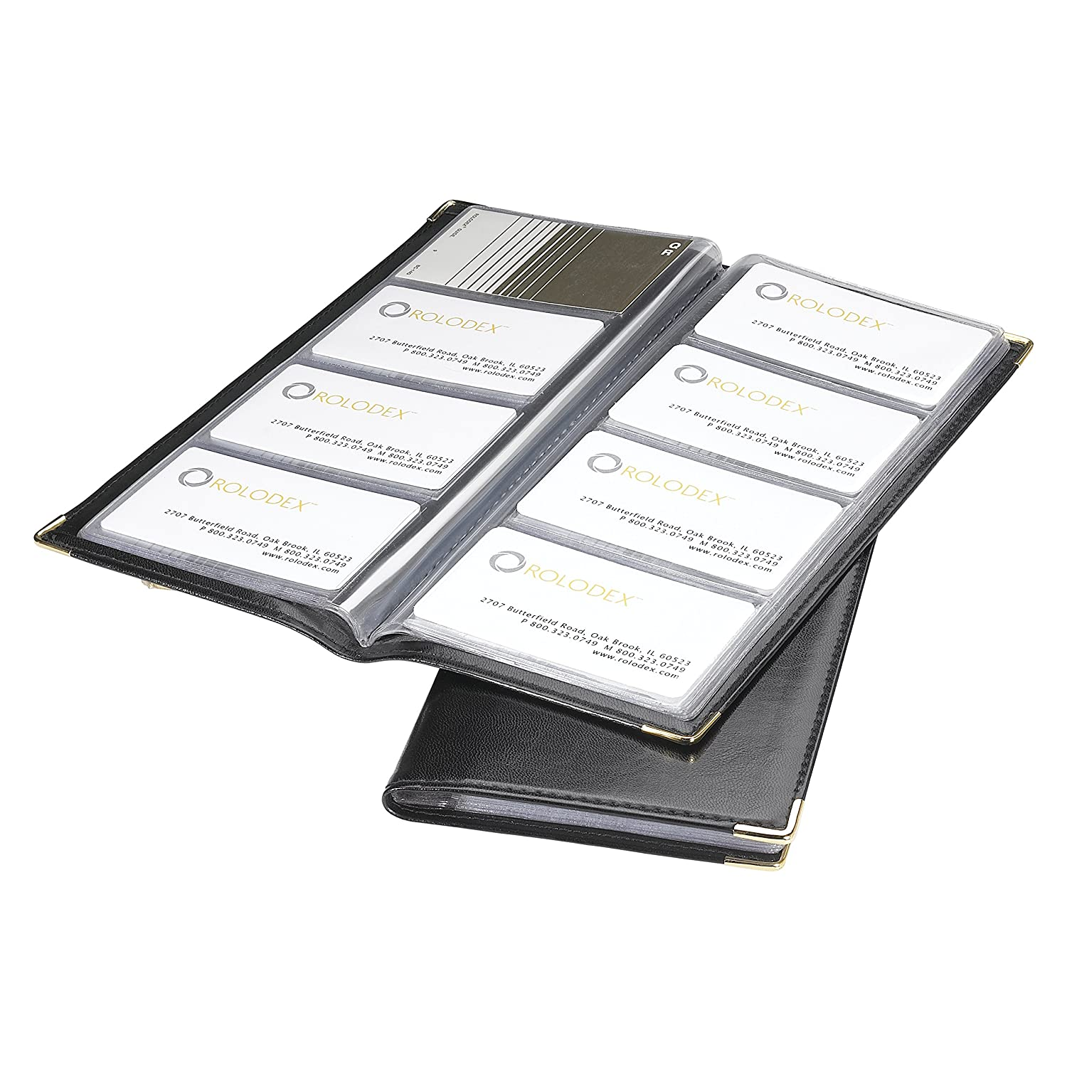 Amazon.com : Rolodex Business Card Book 96-Card, Black and Gold ...