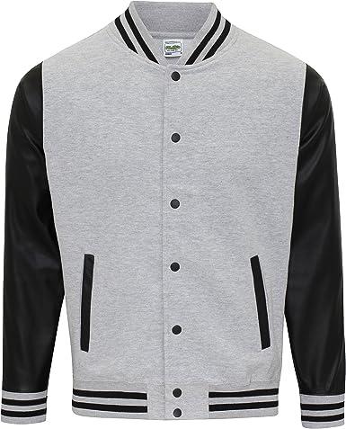AWDis Hoods Varsity Letterman jacket Jet Black//White L