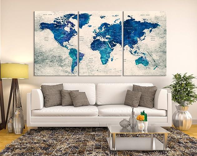 World Map Canvas Print, World Map Push Pin Canvas Art, Large World Map,  World Travel Map Print, World Map Print, World Map Wall Art for Home ...