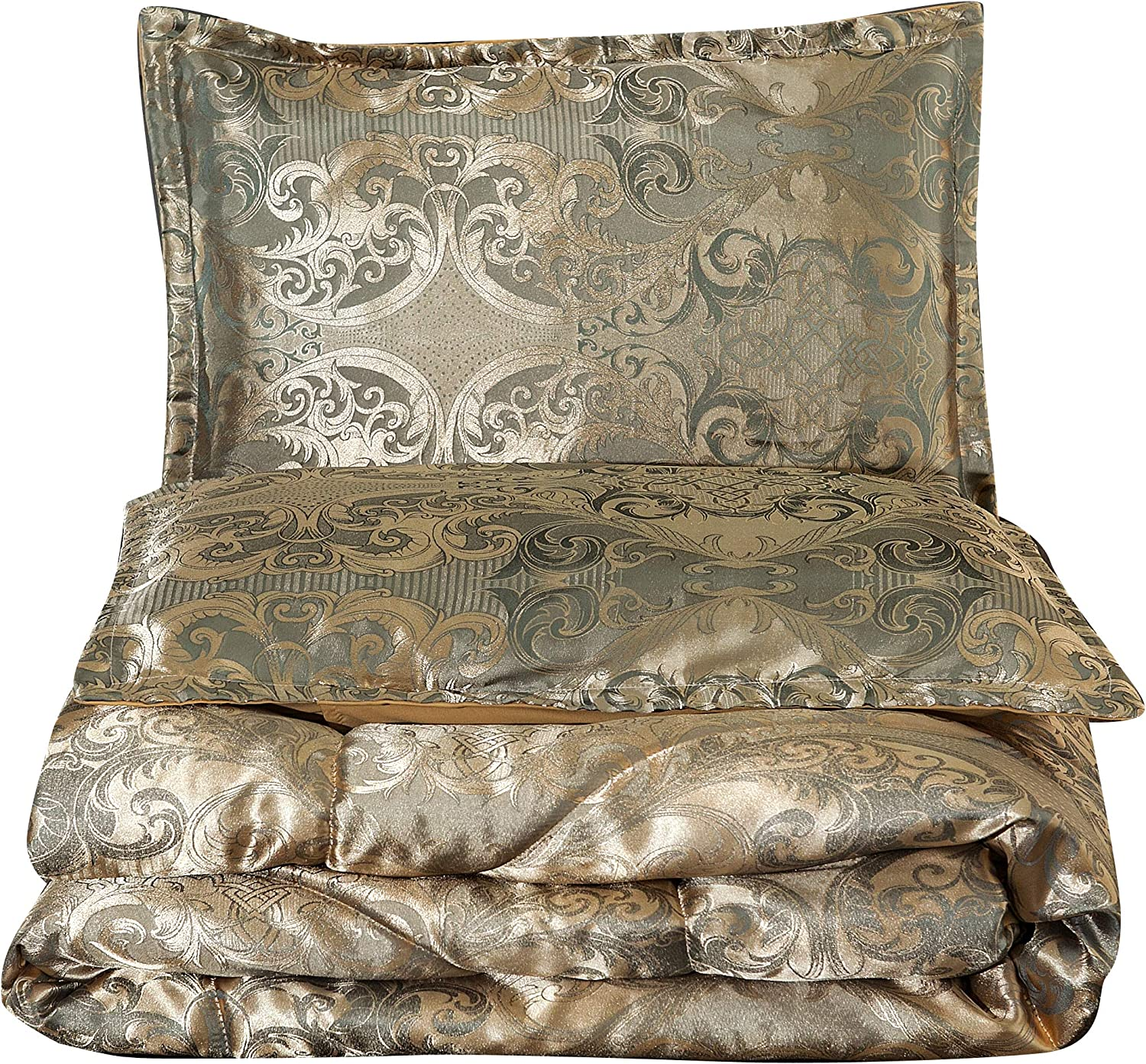 NTBED Luxury Comforter Sets Queen Jacquard Paisley Brushed Heart Quilted Bedding Sets (Gold, Queen)