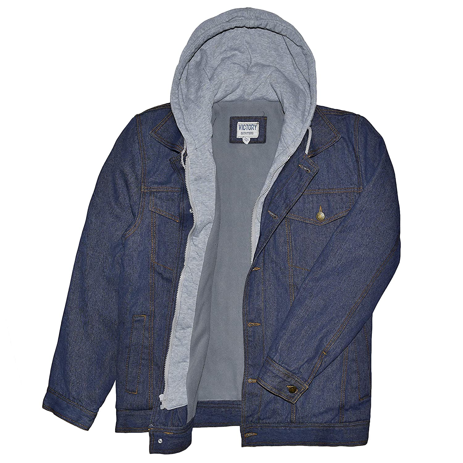 Victory Outfitters Mens Hooded Fleece Lined Washed Denim Jacket