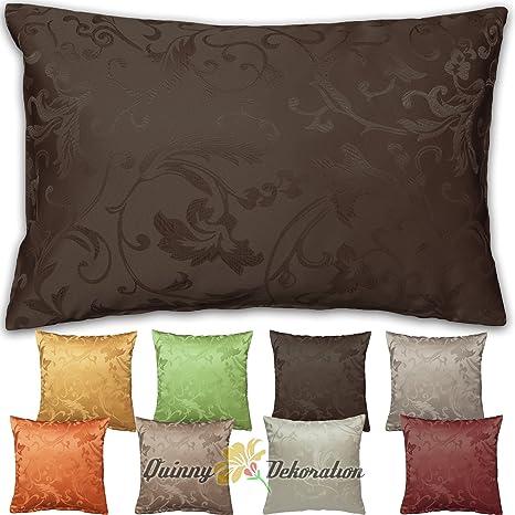 Quinnyshop Funda de cojín Jacquard 40 x 40, 50 x 50, 40 x 60 cm con selección de Color, poliéster, marrón, 50 x 50 cm