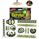 GLOW IN THE DARK TATTOOS FOR KIDS - TEMPORARY TATTOOS FOR KIDS ~ 2 SHEETS OF WATERPROOF GLOW TATTOOS ~ VARIETY OF TEMPORARY TATTOOS. GREAT FOR PARTY FAVORS, GLOW IN THE DARK. NON TOXIC. (GLOW)