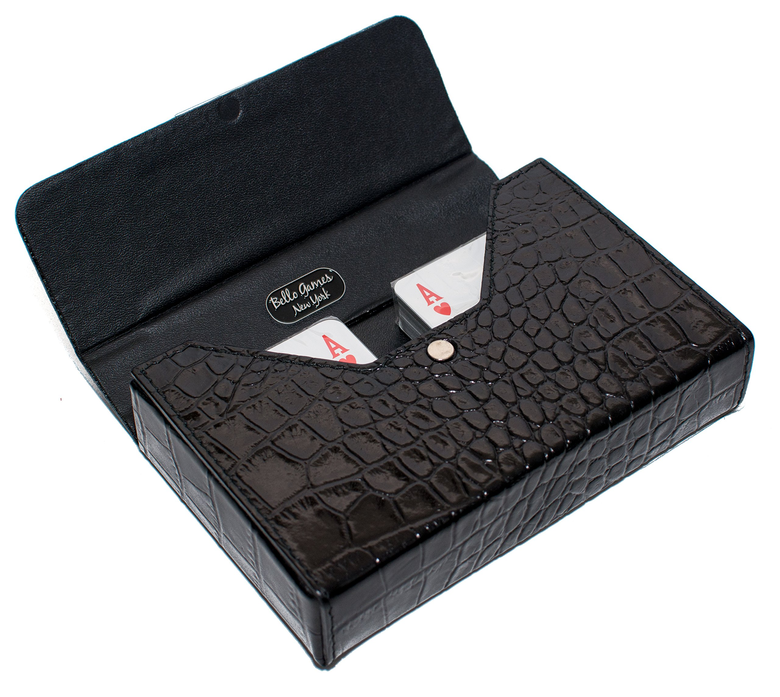 Bello Games Collezioni - Ponte Vecchio Deluxe Genuine Crocodile Card Set with Swarovski Crystals from Italy