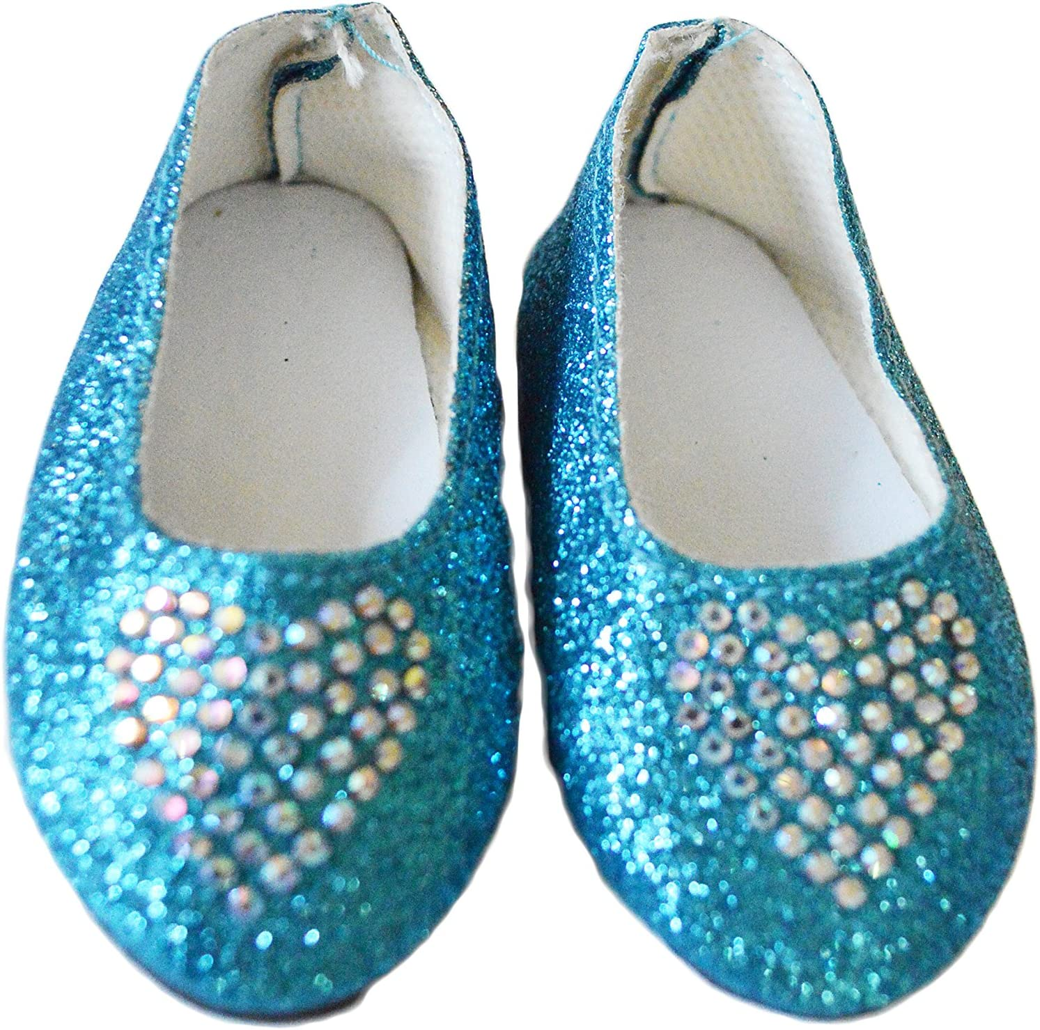 """Blue Sequin Sneakers Fits 14.5/"""" Wellie Wisher American Girl Doll Shoes"""