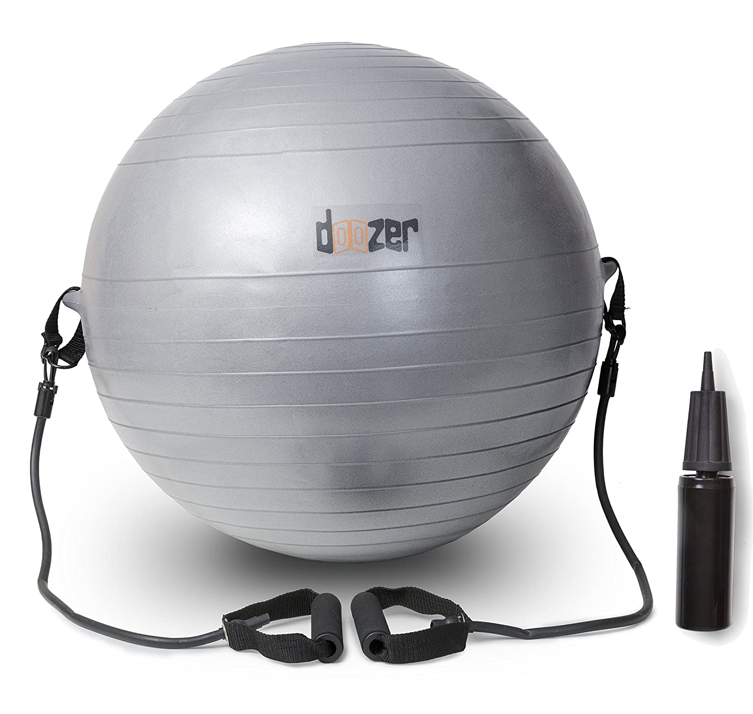 Exercise Ball W/ Removable Resistance Bands. For Pilates, Yoga, Core Strength, Balance & More! For Home, Gym, Office, Outdoor & Indoor Fitness. Incl. Ball, 2 straps + handles, 3 Plugs, Pump