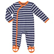 Asher & Olivia Footed Pajamas for Boys Baby Sleepers Side Snap Onesie Footies (Blue White Stripes, 0-3 Months)