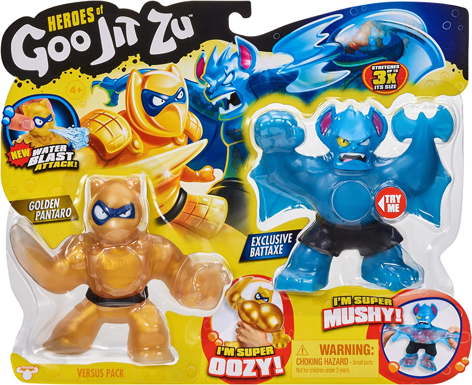 Details about  /Heroes of Goo Jit Zu Squishy Action Figures 2 Pack Golden Blazagon Vs Rockjaw