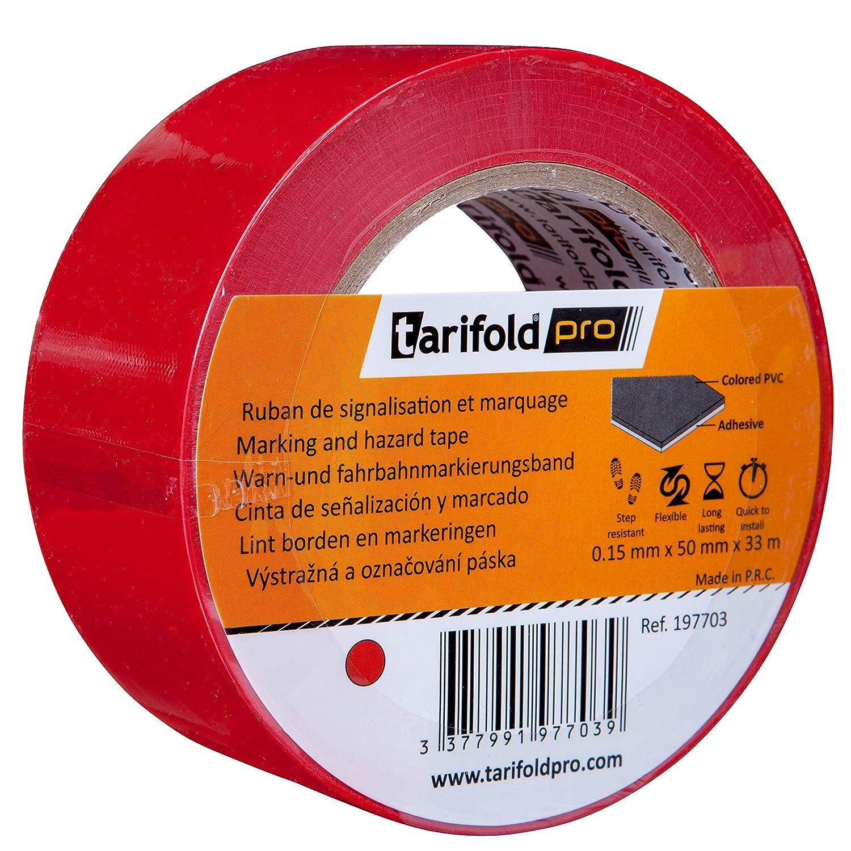 Tarifold 1 Cinta Adhesiva Suelo Se/ñalizaci/ón 50 mm x 33 M color Rojo- Rollo 50mm x 33m Seguridad