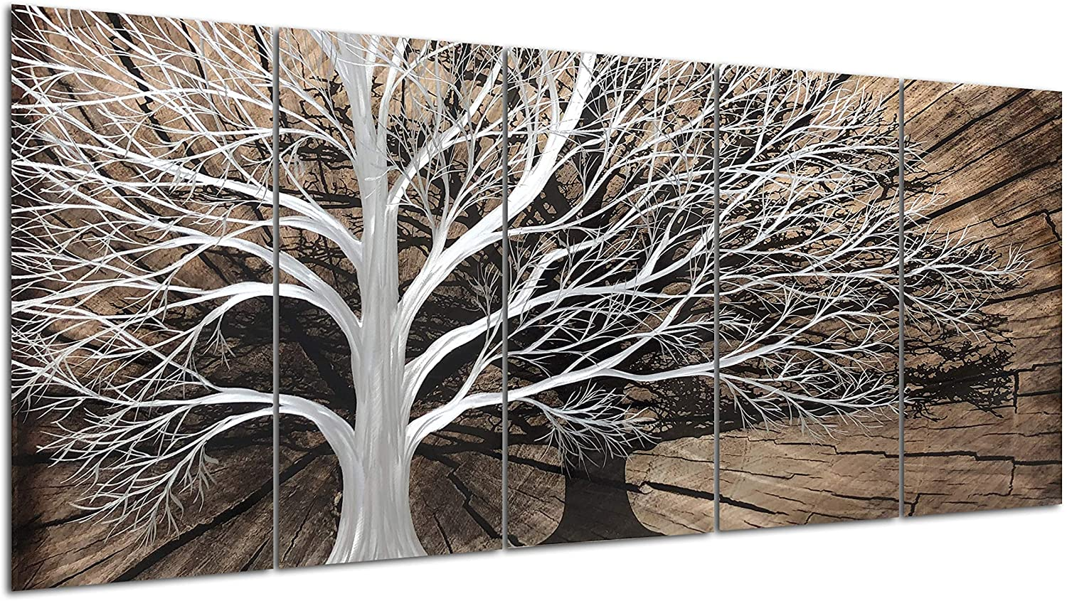 Amazon Com Yihui Arts 3d Silver Tree Metal Wall Art Hand Grind On Aluminum Brown Rustic Pictures In 5 Panel Modern Artwork For Living Room Bedroom Decoration 24wx64l Everything Else