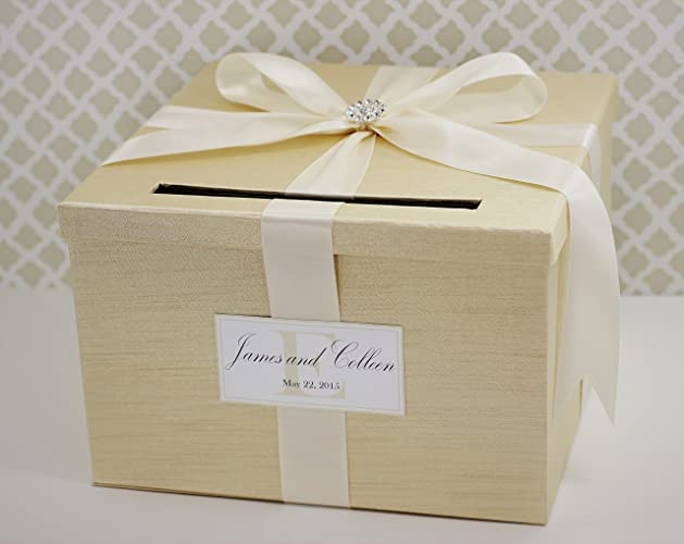 Wedding Card Box Money Gift Holder Champagne Gold And Ivory Classic Customizable