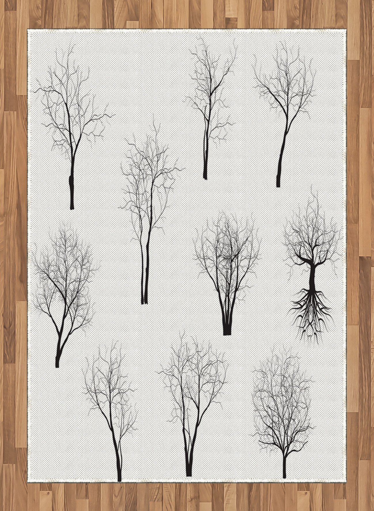 Forest Area Rug by Ambesonne, Spooky Horror Movie Themed Branches in the Forest Trees Nature Artwork Print, Flat Woven Accent Rug for Living Room Bedroom Dining Room, 5.2 x 7.5 FT, Black and White