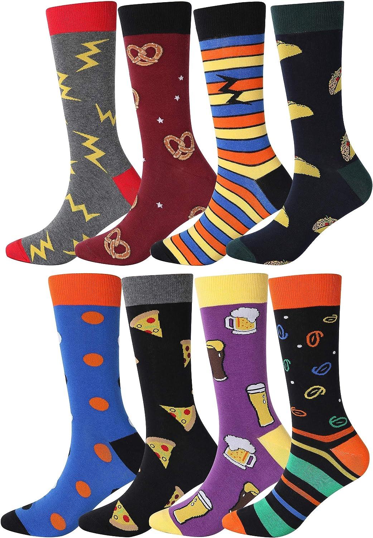 YEJIMONG Men's Cotton Fun Colorful Striped Casual Dress Socks, Funky Designed Fancy Socks - 8/12 Pairs, Size 8-12