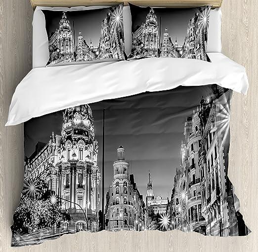 Negro y Blanco decoraciones de edredón por Ambesonne, Madrid ...