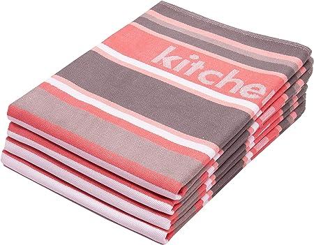 ZOLLNER 4 paños de Cocina 50x70 cm, algodón, a Rayas Color Coral y ...
