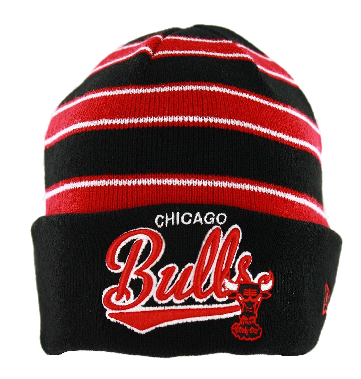 d867e7e4eb5 Chicago Bulls Black    Red Striped Cuffed Knit Beanie Cap New Era