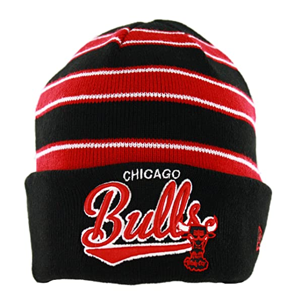 acb1875aa86 Image Unavailable. Image not available for. Color  Chicago Bulls Black    Red Striped Cuffed Knit Beanie Cap