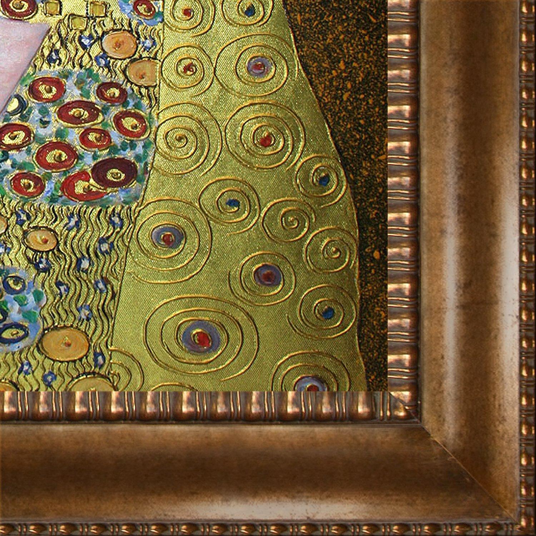overstockArt KLG2308-FR-M8098624X24 The Kiss Framed Oil Reproduction of an Original Painting by Gustav Klimt