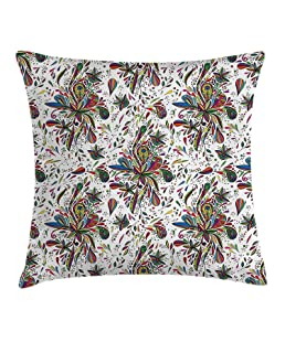 Jagfhhs Boho Style Colorful Plant Five-Pointed Water Drop Home Indoor For Decor Fashion Style Comfortanble Cotton Square Standar Size:16x16 IN (Two Sides)