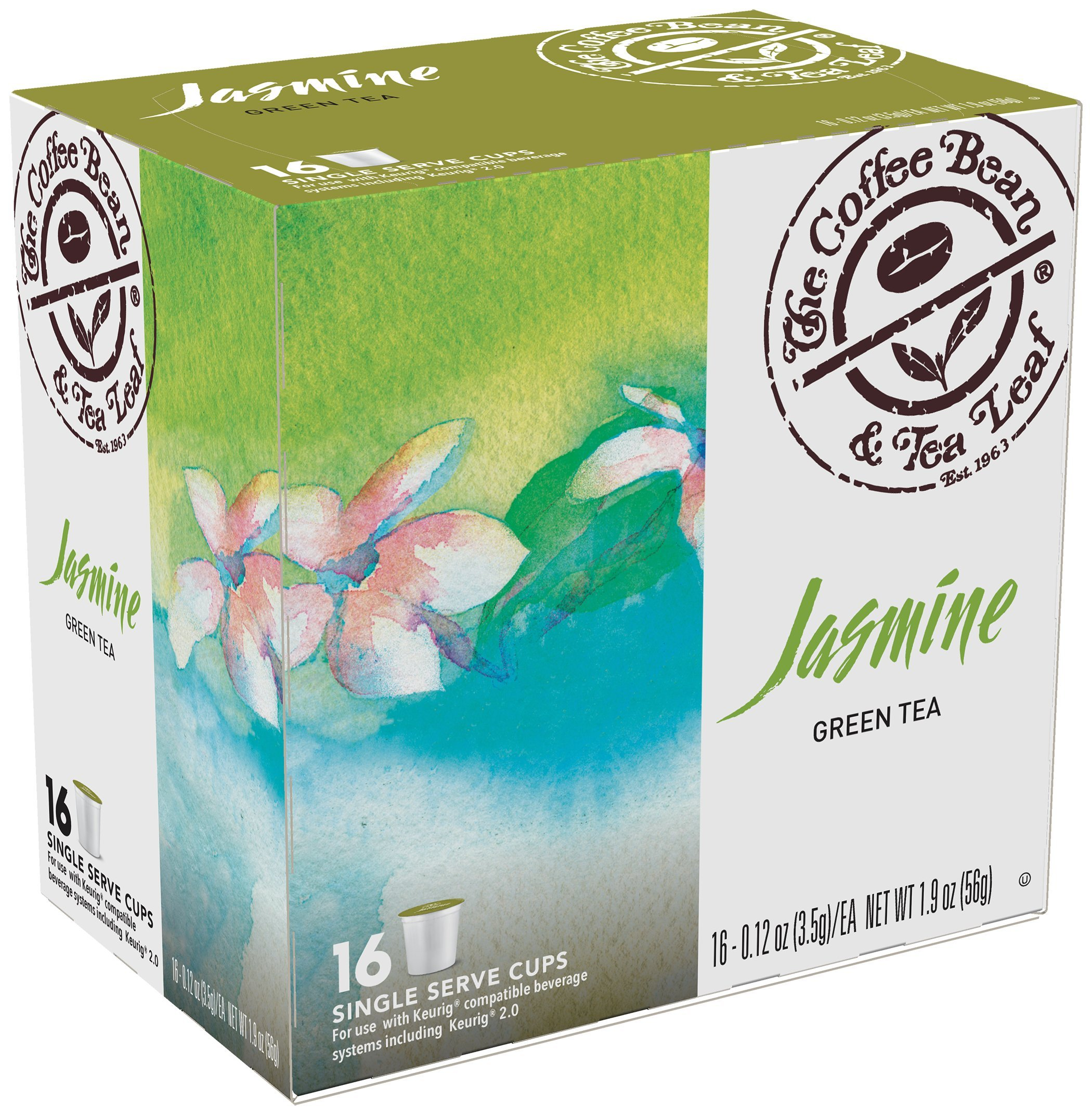 Coffee Bean & Tea Leaf Single Serve Tea Cups, Jasmine Green, 16 Count (Pack of 4) by Coffee Bean & Tea Leaf