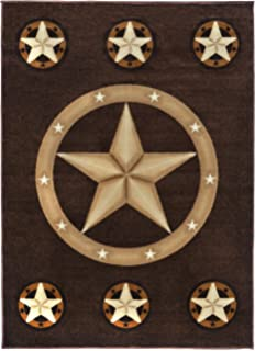 Superior Rugs 4 Less Collection Texas Lone Star State Novelty Area Rug R4L 78  Chocolate / Brown