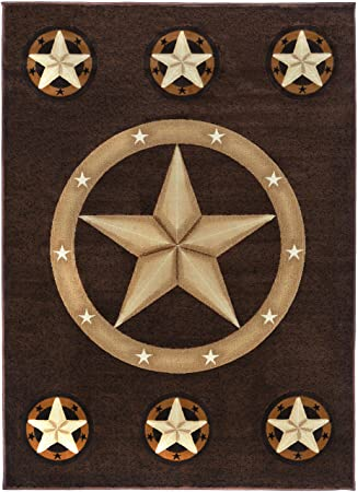 Rugs 4 Less Collection Texas Lone Star State Novelty Area Rug R4L 78  Chocolate (5