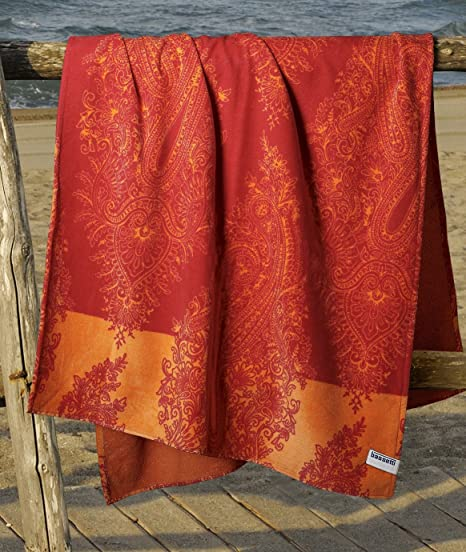 Bassetti Granfoulard.- Toalla de playa Elba V1 rojo en medida 90 x 180 cm